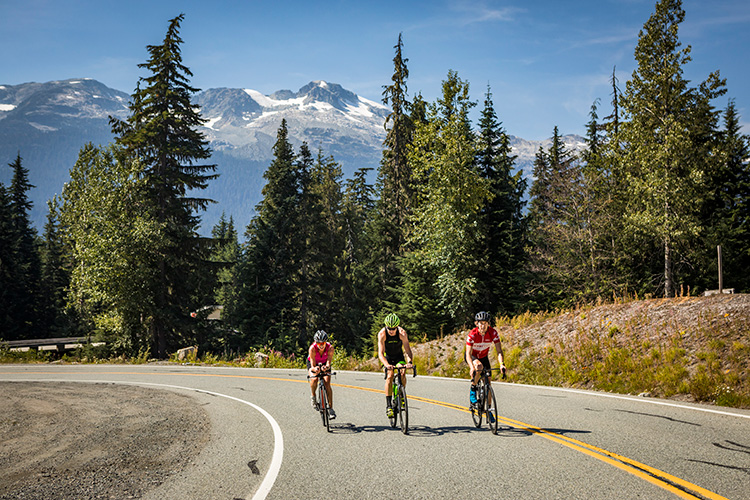 A group of cyclists training in Whistler