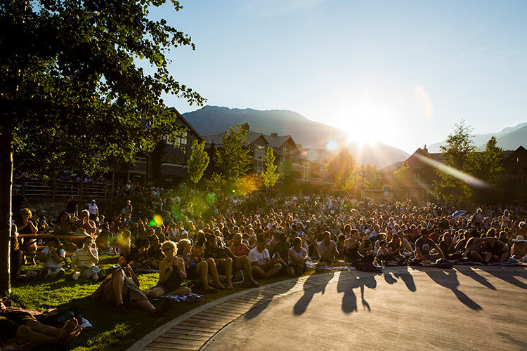 Crowd at a Whistler Olympic Plaza concert