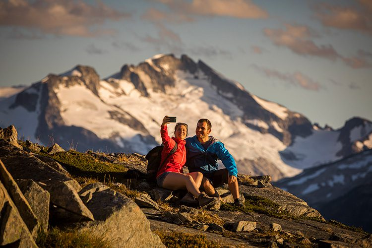 Parents taking a selfie on a Whistler hike