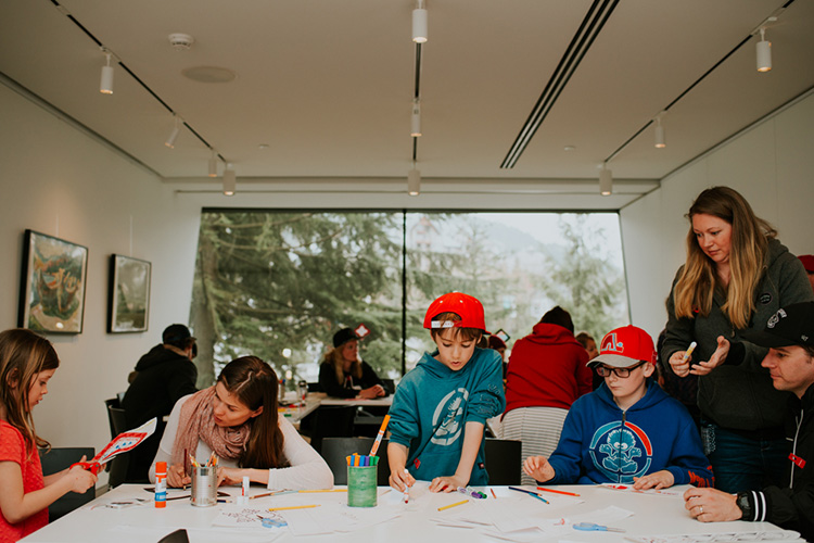 Kids drawing at the Audain Art Museum