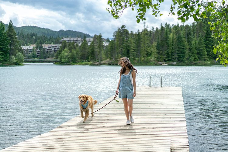 Woman walking her dog on a dock in Whistler