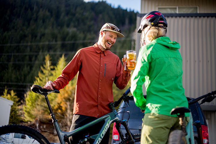 Bikers enjoying a beer in Whistler