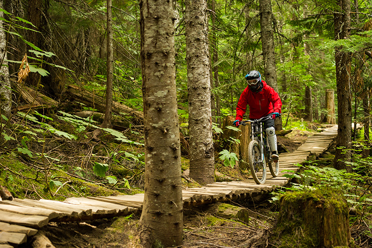 Wooden bridge in the Whistler Mountain Bike Park