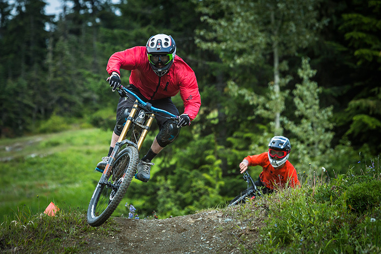 Friends riding in Whistler Mountain Bike Park