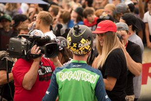 Micayla Gatto interviewing a rider at Crankworx