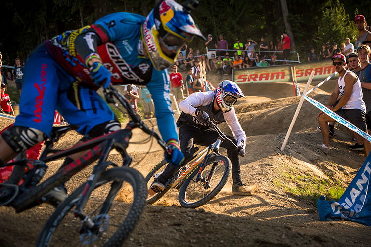 Two riders go head to head at Dual Slalom during Crankworx Whistler