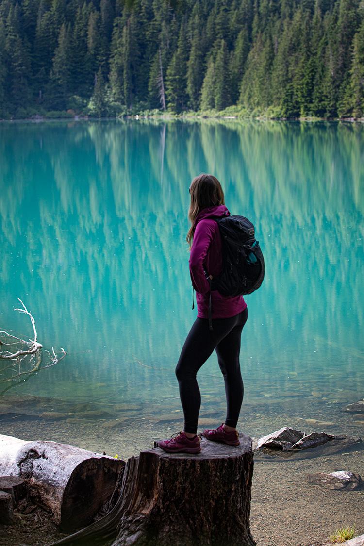 Hiker at Cheakamus Lake, Whistler
