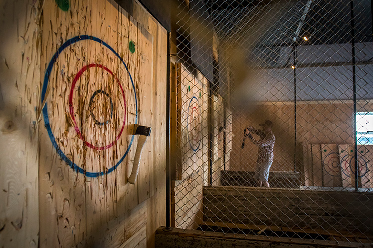 Axe throwing target at Forged in Whistler