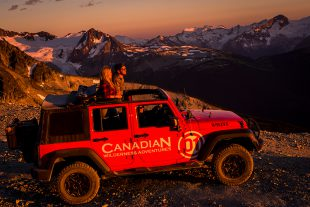 Couple on a Jeep sunset tour in Whistler