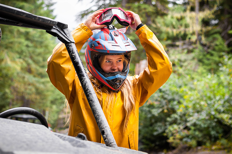 Guest puttig on helmet and goggles for RZR tour