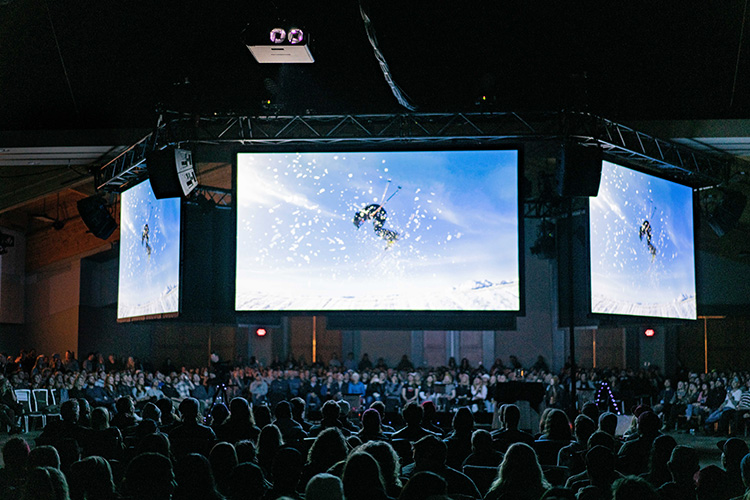 Crowd watching ski film in Whistler Conference Centre