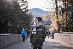 Woman walking in Whistler Village