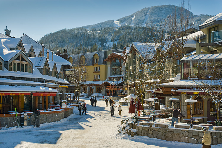 Whistler Village covered in snow