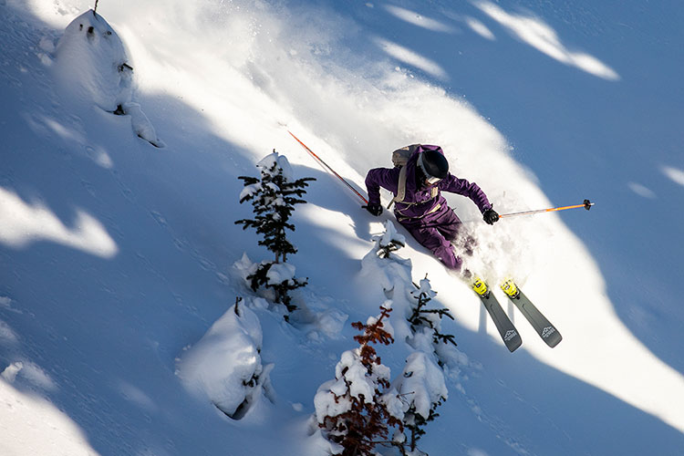 A skier turns in the powder on Whistler Blackcomb.