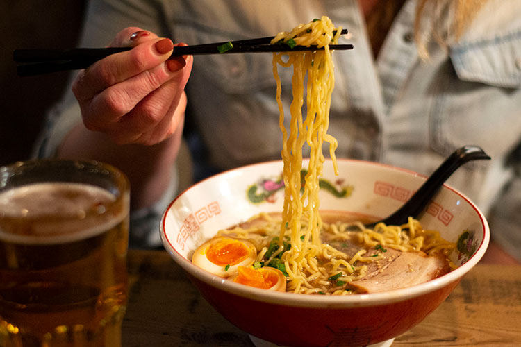 A bowl of ramen noodles at Ohyama Ramen.