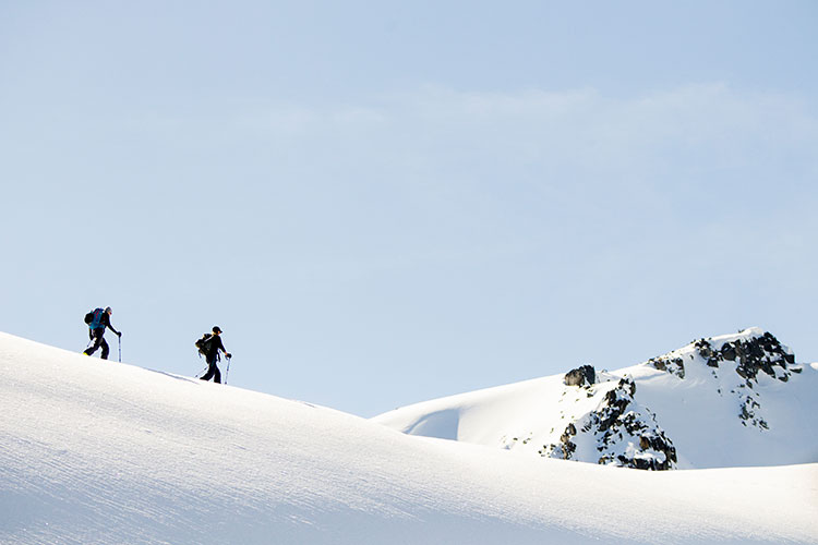 Two backcountry skiers explore Whistler