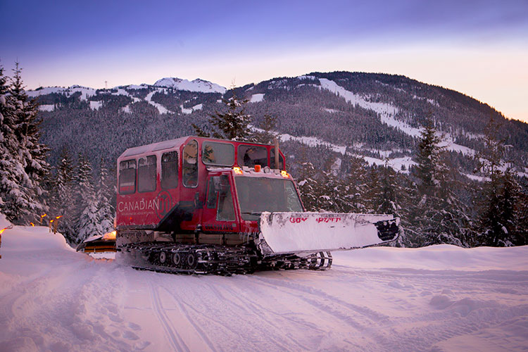 A snowcat on Whistler Blackcomb.