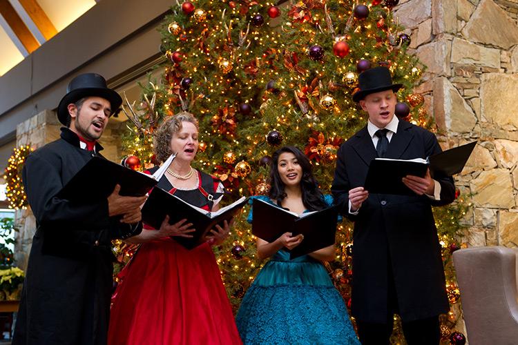 Singers carolling in Whistler at Christmas