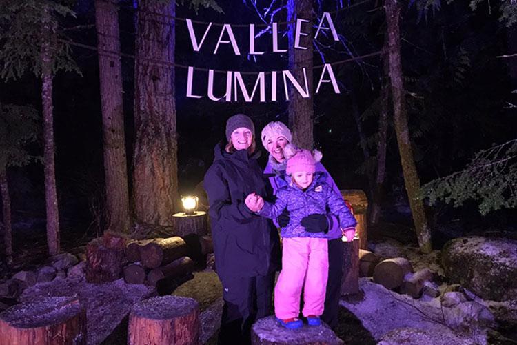 Family at Vallea Lumina in Whistler.