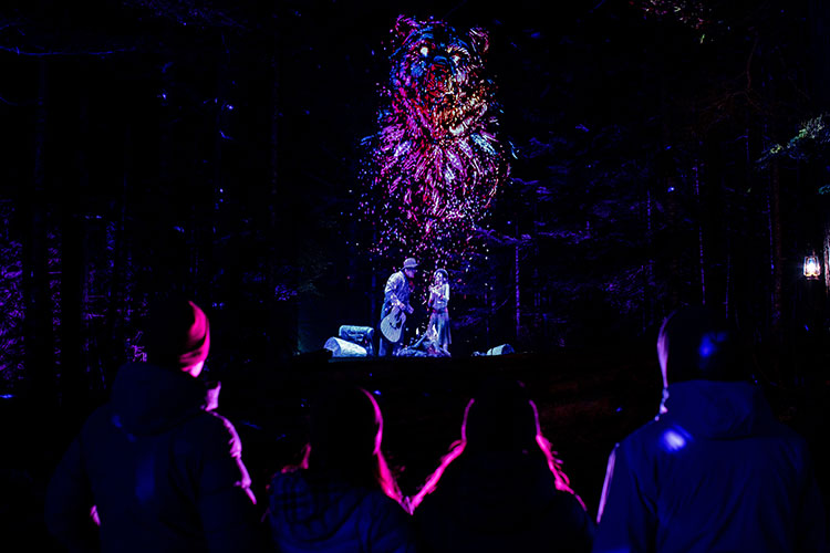 The bear made of stardust at Vallea Lumina in Whistler.
