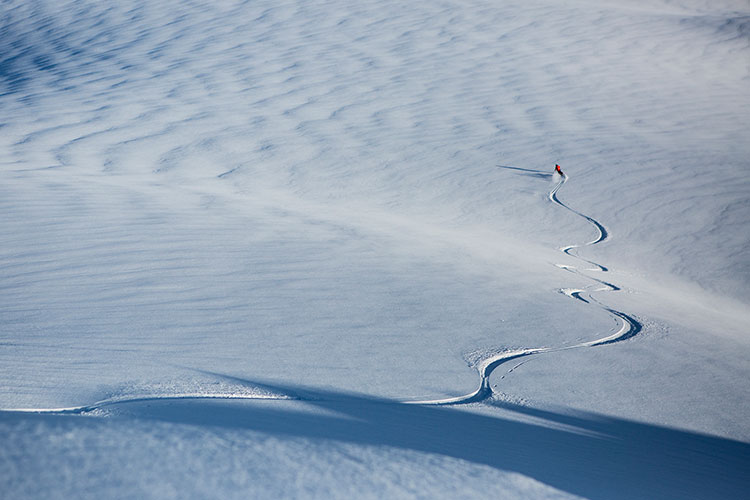 A skier gets fresh tracks with Whistler Heli-skiing