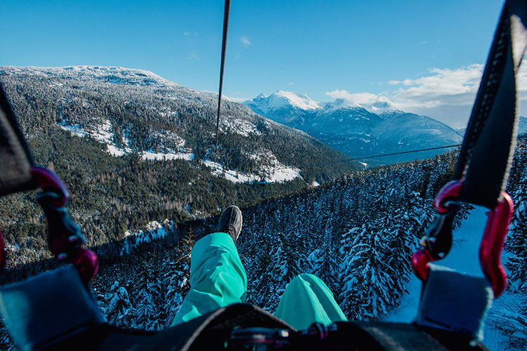 The view of the valley from a Superfily zipline in Whistler.