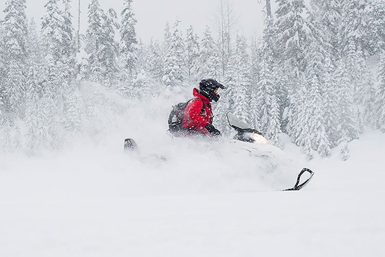 Snowmobiling in the powder in Whistler.