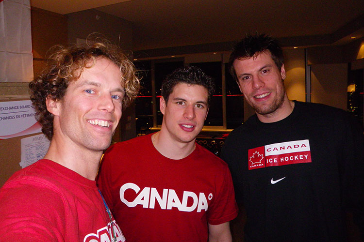 Justin Lamoureux with Sydney Crosby and Shea Weber