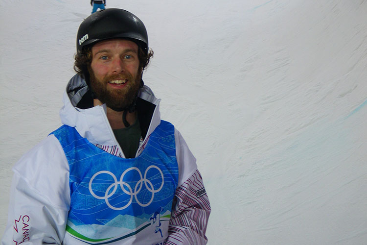 Justin Lamoureux checking out the halfpipe at the 2010 Olympic Winter Games.