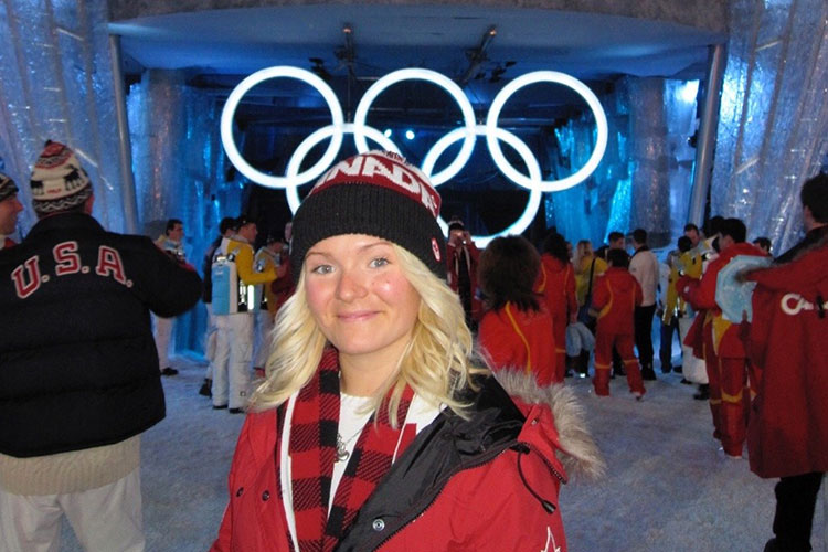 Olympian Mercedes Nicoll at the Opening Ceremonies of the 2010 Olympic Winter Games.