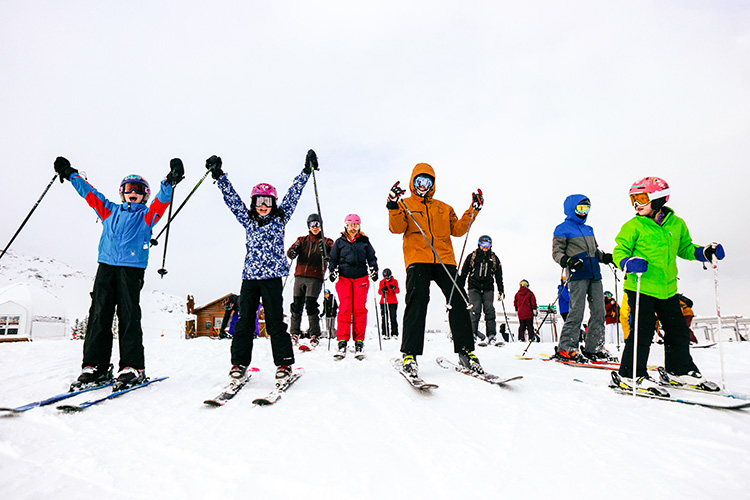 Family on the slopes in Whistler