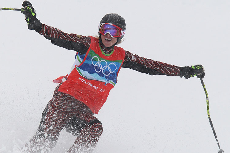 Asheligh McIvor finishes her gold-winning run at the 2010 Olympic Winter Games.