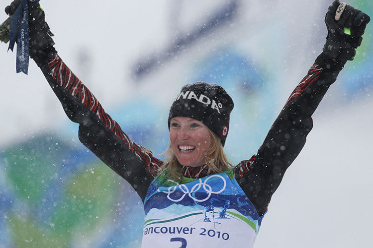 Ashleigh McIvor on the top spot of the podium at the 2010 Winter Olympic Games.