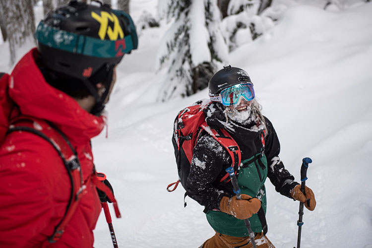 Two skiers stop on a powdery tree run.