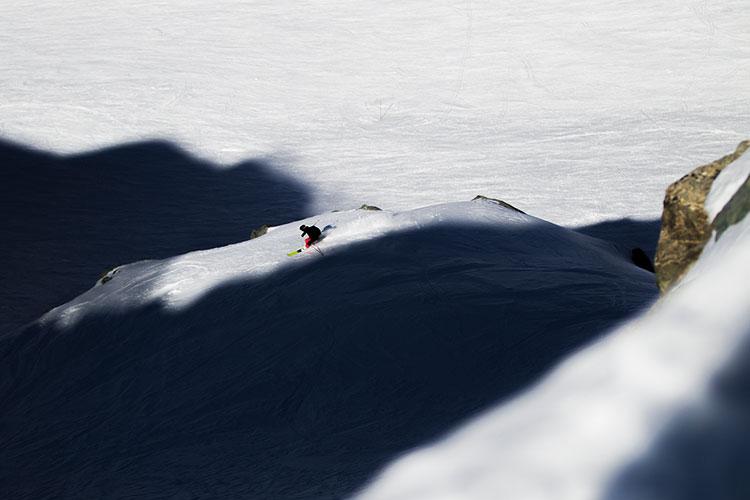 A skier tackles a black diamond run on Whistler Blackcomb.