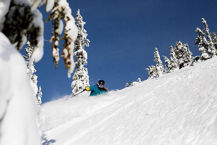 A skier on the Ratfink run on Whistler Blackcomb.