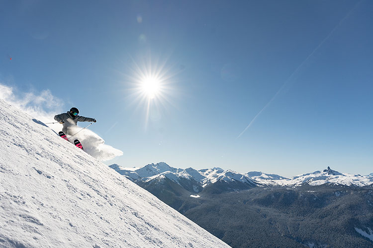 A skier tackles a steep run on Whistler Blackcomb.