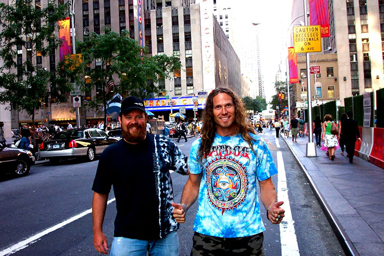 The Hairfarmers walk down a street in New York.