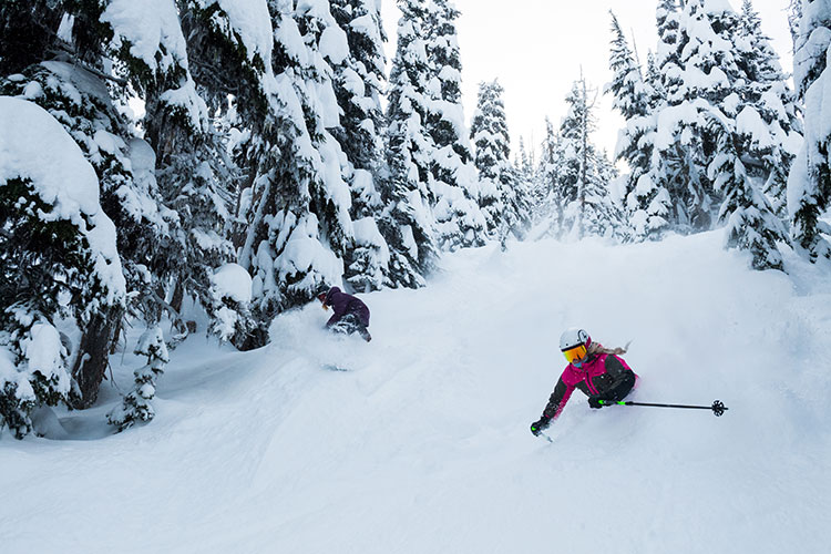 A skier and snowboarder rip down Raptor's Ridge on Whistler Blackcomb.