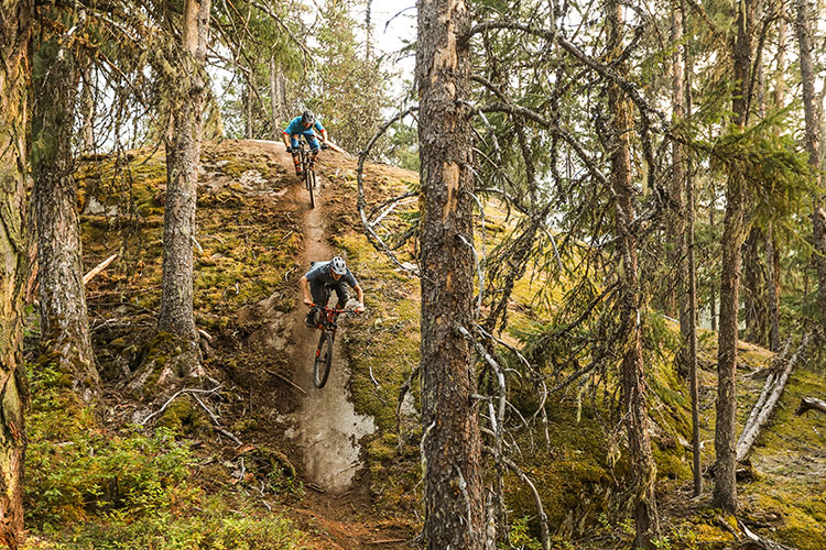 Two mountain bike riders come down a steep rock face in Whistler.