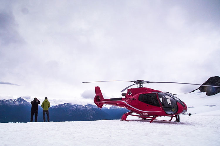 The Hairfarmers admire the view while on a heli sightseeing tour in Whistler.