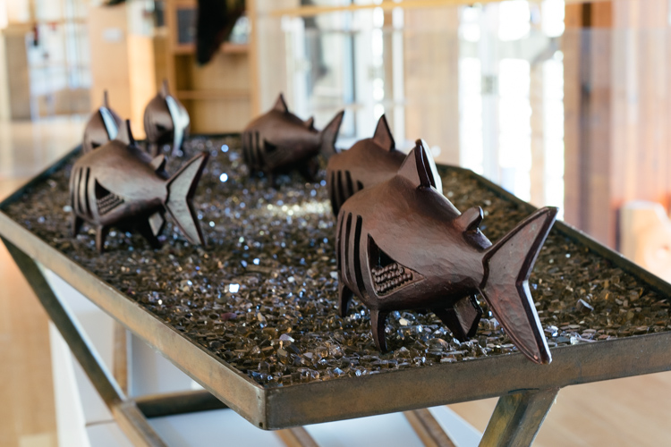 The Vanishing Run bronze salmon sculpture by Ed Archie NoiseCat