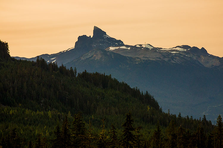 A view of Black Tusk from the Callaghan Valley in Whistler.