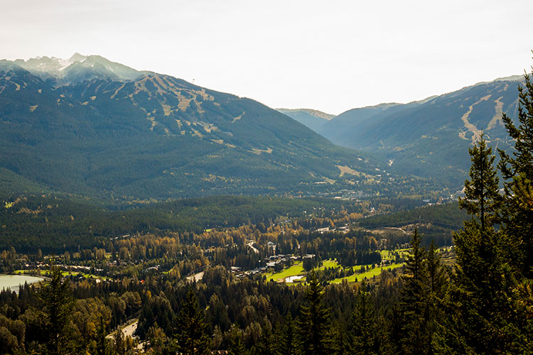 Fall mountain views from the Flank Trail in Whistler.