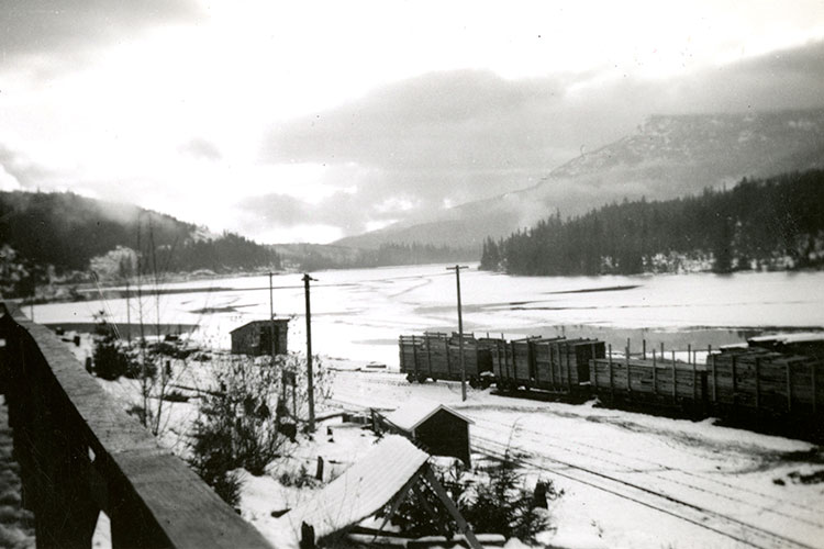 An archival photograph of the Parkhurst Sawmill on Green Lake in Whistler.
