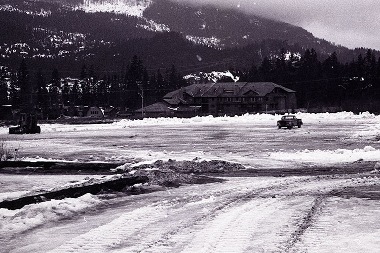 An archival photograph of Whistler Creek Lodge in 1980.