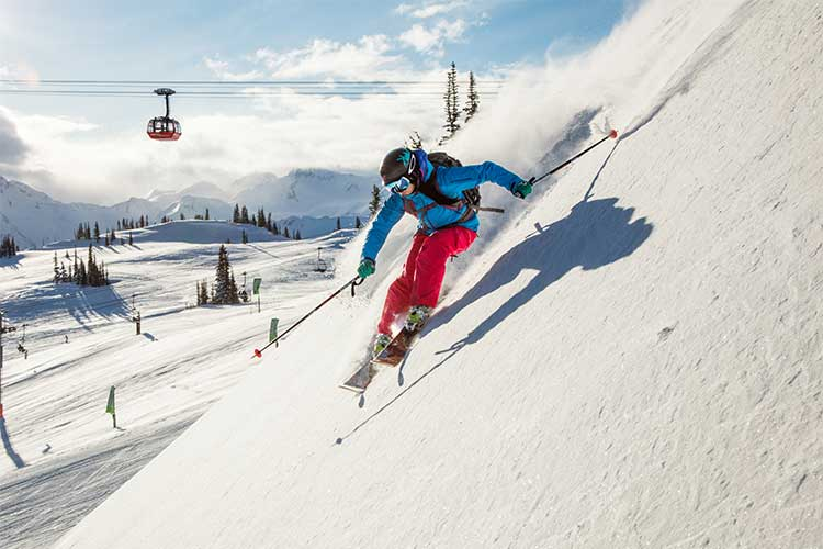 Skier turning on Whistler