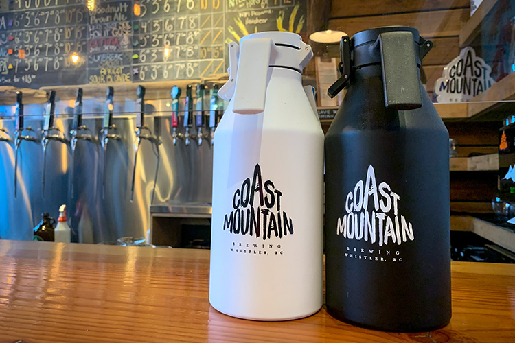 Insulated growler at Coast Mountain Brewing