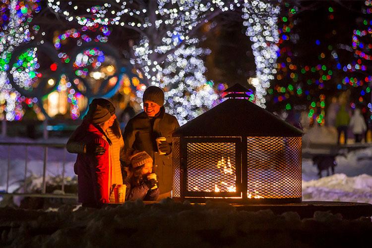Family enjoying fire pit