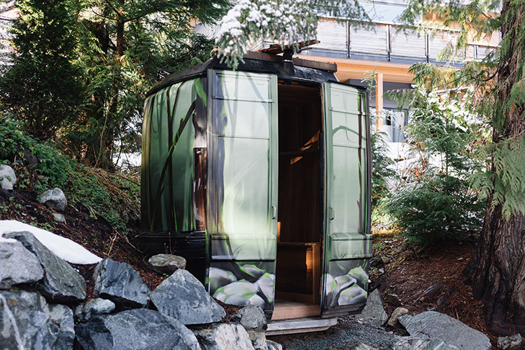 Mike Conwat's saundola in his back garden in Whistler.